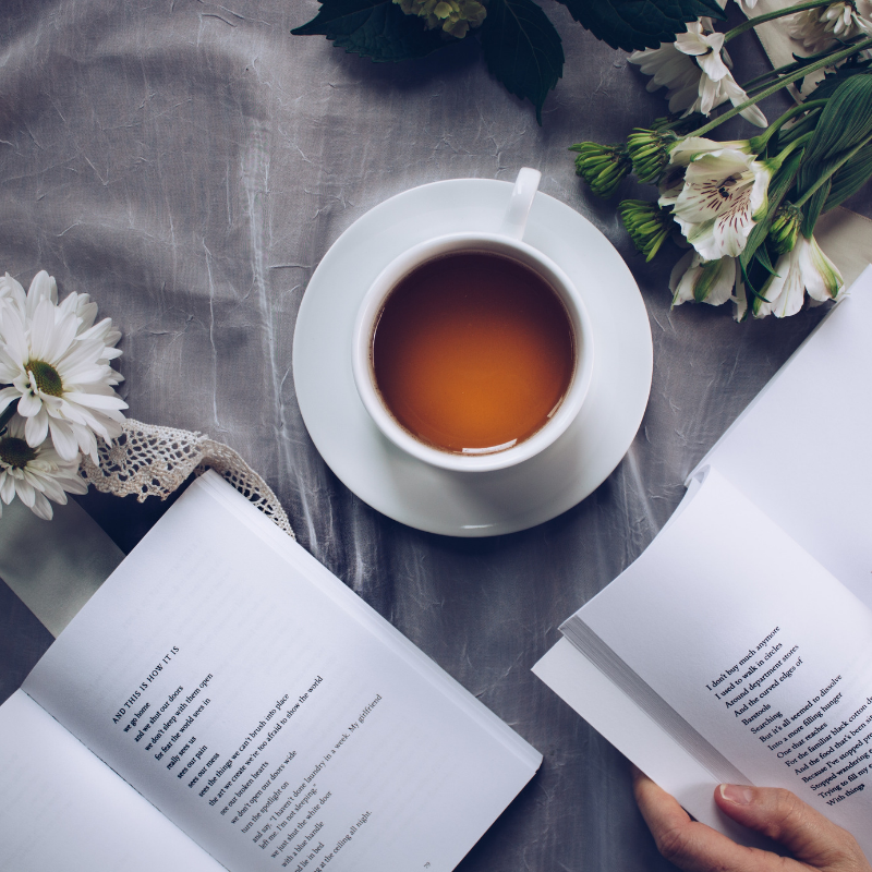 books and a cup of tea